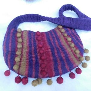 Anthropologie Rising Tide Felt Wooly Bag